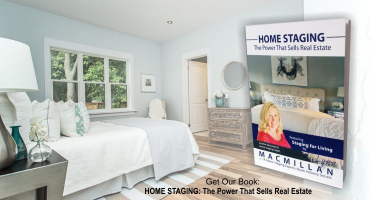 Home Staging by Lynn MacMillan book cover on staged bedroom image