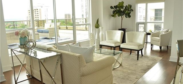 bright room in white sitting area
