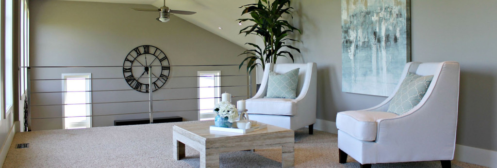 loft seating area staged by Gem Home Staging